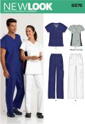 6876 New Look Pattern: Unisex Scrub Top and Trousers plus Misses Scrub Top